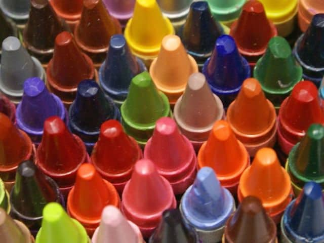Bunch of Coloured Crayons, tip upwards